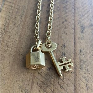 Tory Burch Lock + Key Necklace in Gold